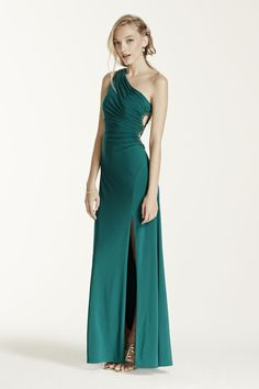 One Shoulder Jersey Dress with Circle Cutout Style 211S50210