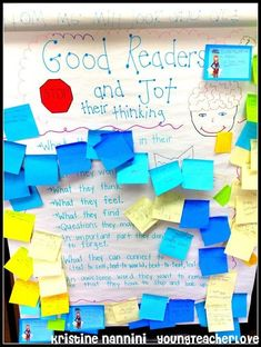 Young Teacher Love: Good Readers Stop and Jot & Writing long off post-its and Thanksgiving Mystery Pictures Reading Lessons, Reading Strategies, Reading Activities, Reading Skills, Teaching Reading, Reading Comprehension, Guided Reading, Teaching Ideas, Comprehension Strategies