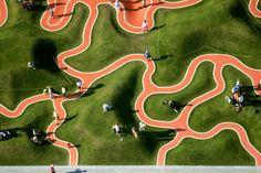 Riemer Park, rubber mound playground, Air view - Munich, Germany