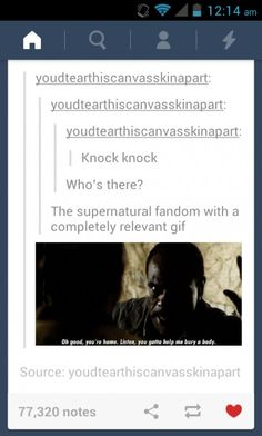 We're always prepared.  You need a gif to express any situation?  The Supernatural fandom has you covered.