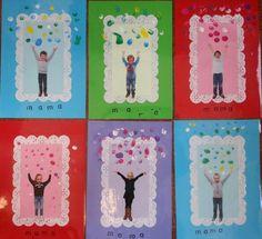 """Moederdag  foto en  met stempels het woord mama door de kids erop gezet. """"confetti""""gemaakt van vingerprints"""