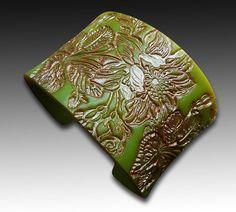 Faux jade blossom polymer clay cuff limited by adrianaallenllc, $15.00