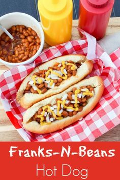 Franks-N-Beans Hot Dog is not your average hot dog. Wrapped in bacon, grilled, topped with beans, onion, and mustard make a new favorite to your summer BBQ. Dog Recipes, Burger Recipes, Grilling Recipes, Lunch Recipes, Easy Dinner Recipes, Appetizer Recipes, Grilling Ideas, Curry Pork Chops, Snacks Under 100 Calories