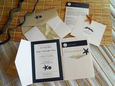Pocket-Fold Wedding Invitation - Beach Theme - shown in white, sand and dark blues (5x7)