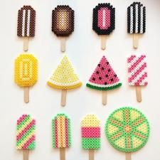 Popsicles hama beads by Just Like Lotta (Pour Art Ideas) Perler Bead Designs, Hama Beads Design, Diy Perler Beads, Perler Bead Art, Melty Bead Patterns, Pearler Bead Patterns, Perler Patterns, Beading Patterns, Knitting Patterns