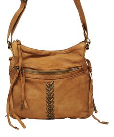 Cognac Charlotte Leather Crossbody Bag