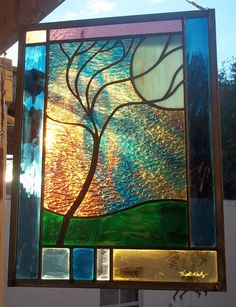 Stained Glass Window Panel Stormy Tree by stainedglassfusion, $159.00