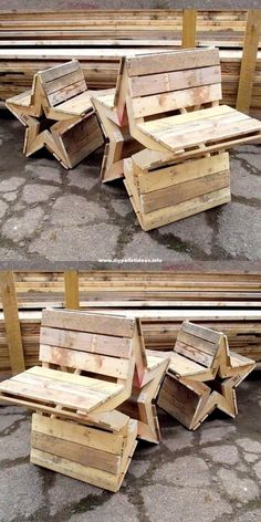 Star-Shaped DIY Pallet Wood Bench Projects