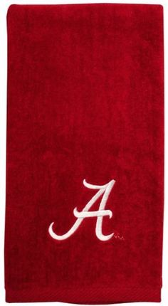 """Alabama Crimson Tide Crimson Embroidered Sports Towel by Football Fanatics. $21.99. After an intense workout, wipe the sweat from your brow in Crimson Tide pride with this embroidered sports towel featuring your favorite team's logo embroidered at the bottom. It's perfect to carry along to the gym or any sporting event!100% CottonMeasures approximately 16"""" x 25""""Quality embroideryImportedOfficially licensed collegiate product"""