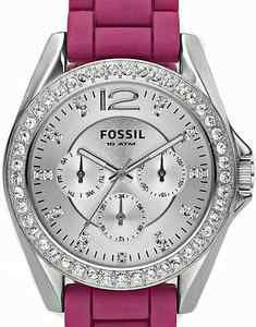 Silver bling face and bezel hot pink band