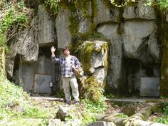 Dustin W. Naef – Mount Shasta's Legends - in front of entrance to Telos, a secret city rumored to exist beneath Mount Shasta