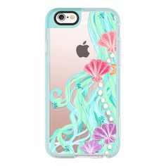 iPhone 6 Plus/6/5/5s/5c Case - Mermaid Hair Aqua Sea ($40) ❤ liked on Polyvore featuring accessories, tech accessories, iphone case, iphone cover case, iphone cases, apple iphone cases and iphone hard case