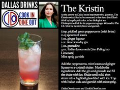 Dallas Drinks: The Kristin (a spicy gin-based highball with grenadine and mint)
