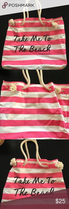 """Victoria Secret """" take me to the beach"""" Beach Bag Victoria Secret Stripped Beach BagMeasurements: 15.5"""" H x 18"""" W. Handle drop- 12.5"""" Condition: has some black marks on outside, and bottom of bag. Inside of the bag is In excellent. condition. Comes from a smoke/pet free home. 🎊HP 1-20🎊 Victoria's Secret Bags"""