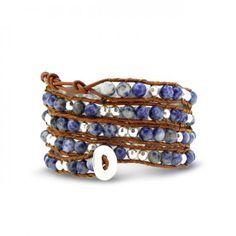 Bling Jewelry Blue Sodalite Gemstone Beads Leather Wrap Wrist 5x Surf Bracelet