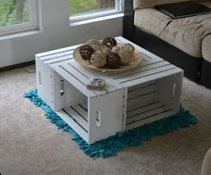 Apple Crate Coffee Table.... If you combine this pin with the yarn storage on pegboard idea!