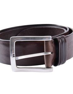 This handmade dark brown Douglas Lavato leather belt has a five way split belt loop and a squared silver buckle Dark Brown, Belt, Clothing, Silver, Leather, Accessories, Belts, Outfits, Outfit Posts
