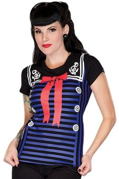Women's Sail Away With Front Bow Print T-Shirt #rebelcircus #rebel #goth #gothic #punk #punkrock #rockabilly #psychobilly #pinup #inked #alternative #alternativefashion #fashion #altstyle #altfashion #clothing #clothes #style #sailor #nautical #retro