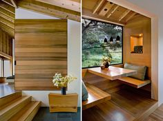 Wooden elements in interior design. Designed by Turnbull Griffin Haesloop Architects