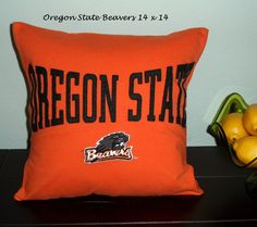 Oregon State 14 x 14 Pillow Cover, OSU Beavers Pillow, Orange and Black Oregon State Upcycled Pillow