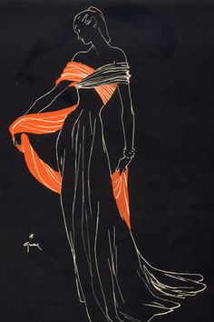 Illustration by René Gruau, 1947, Jeanne Lafaurie Couture.