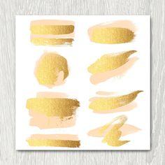 Gold Brush Strokes Clipart peach & gold metallic от ItGirlDigital