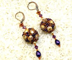 New beaded earrings, fp beads, swarovski crystals, glass pearls, and seed beads. | Flickr - Photo Sharing!