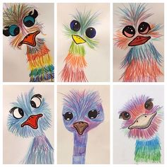 A few of our 'Big Birds' from fifth graders. The feathers were created with colored pencil. Eyeballs and beaks were colored with sharpie. Thanks for the adorable idea! Art Lessons For Kids, Art Lessons Elementary, Art For Kids, Crafts For Kids, Arte Elemental, Creation Art, 5th Grade Art, Feather Crafts, Color Pencil Art