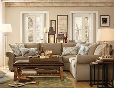New Living Room Colors With Brown Couch Paint Pottery Barn Ideas Coastal Living Rooms, Living Room Colors, New Living Room, Home And Living, Living Room Designs, Living Room Decor, Bedroom Colors, Small Living, Barn Living