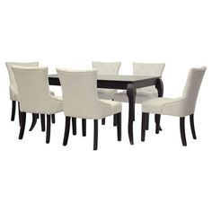 Refashion your dining room with this stylish set, showcasing a timeless table and 6 button-tufted side chairs. Add some beige placemats and an eye-catching f...
