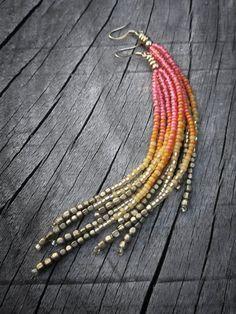 Beaded Fringe Earrings - Inspiration Only Seed Bead Jewelry, Bead Jewellery, Seed Bead Earrings, Fringe Earrings, Beaded Earrings, Beaded Jewelry, Handmade Jewelry, Seed Beads, Hoop Earrings