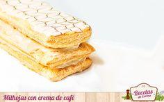 """Milhojas con crema de café -  Milhojas es un dulce tradicional elaborado con diferentes capas de hojaldre horneadas e intercaladas con crema pastelera o nata montada, principalmente. En Recetas de cocina preparamos hoy una versión """"rápida"""", aportándole sabor extra al relleno de crema con una cucharadita de café i... - http://www.lasrecetascocina.com/milhojas-con-crema-de-cafe/"""