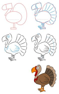 Create an adorable illustration of a turkey using mostly basic shapes and lines and then see how to create the same character using different strokes and outlines. Drawing Tutorials For Kids, Easy Drawings For Kids, Drawing For Kids, Art For Kids, Painting Tutorials, Drawing Ideas, Thanksgiving Drawings, Thanksgiving Nail Art, Thanksgiving Turkey