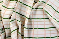 Gorgeous Fabrics - The Name Says It AllGorgeous Fabrics -Designer Plaid Stretch Silk Crepe De Chine Peach/Olive