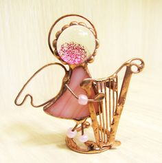 Angel musician stained glass statuette gift for by solandmary