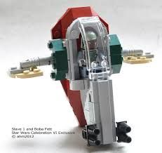 Star Wars Lego Celebration VI Slave 1 and Boba Fett. This set was released in 2012 as a Star Wars Celebration VI Exclusive. Lego Spaceship, Lego Robot, Lego Moc, Lego Mandalorian, Lego Bionicle, Lego Army, Lego Military, Lego Star Wars Mini, Ideas