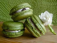 Matcha Macarons with Adzuki  Filling. For an ambitious baking afternoon, try these beautiful green macarons filled with adzuki cream cheese filling. Dark red, sweet adzuki bean paste is commonly used in Japanese confectioneries. #matcha #dessert