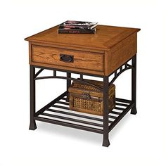 Home Style 5050-20 Modern Craftsman End Table, Distressed Oak Finish
