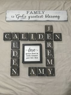 Cricut♥️ A Guide To Online Degrees-How To Select A Online Degree Program Once your have decided to e Letter Wall Decor, Name Wall Art, Diy Wall Art, Family Room Walls, Family Wall Decor, Painted Letters, Wood Letters, Scrabble Tile Wall Art, Scrabble Board