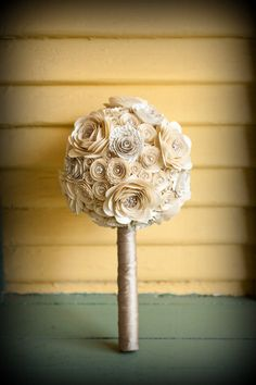 Pearls and Crystals Custom Paper Flower Wedding Bouquet. $105.00, via Etsy.