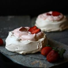 Pavlovas with delicious strawberry cream filling.