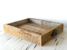 Reclaimed barn wood serving tray with antiqued file cabinet handles by DoubleEDesign on Etsy
