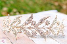 Etsy Rose Gold Tiara Wedding Tiara Vintage Bridal Tiara Downton Abbey Lady Mary Leaf Wedding Crown Vine W Bridal Hair Vine, Bridal Tiara, Bridal Headpieces, Mary's Bridal, Wedding Evening Gown, Wedding Ceremony, Evening Gowns, Wedding Veils, Wedding Hair