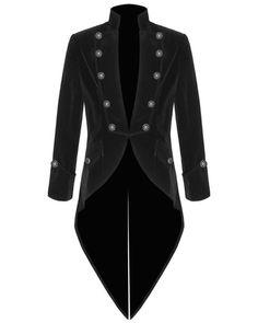 Jacket Men's Red and Black Velvet Goth Steampunk Victorian Frock Coat