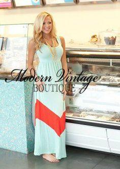 MVB Mint and Coral Color Block Chevron Maxi Dress   Dresses - Modern Vintage Boutique