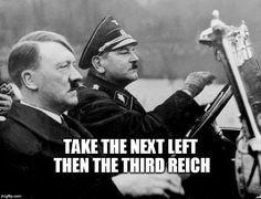 Hitler driving lesson to Trump Tower Berlin.