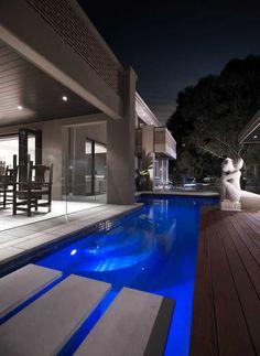 Love how the pool meets the alfresco Home Design Plans, Plan Design, Design Ideas, Outdoor Rooms, Outdoor Living, Facade Design, House Design, Pool Accessories, Building Companies