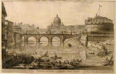 View of the Bridge and the Castel Sant'Angelo' from 'Views of Rome' by Giovanni Battista Piranesi.