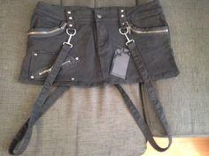 Stretch Fuck'n jeans bondage mini skirt, size 31