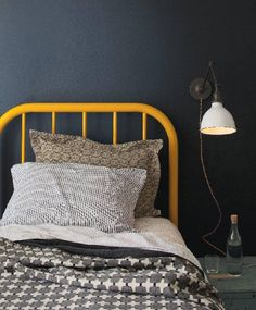 Love the yellow and greys - for M Jrs room. Shopper's Diary: Schoolhouse Electric Launches Housewares Line : Remodelista Yellow Headboard, Yellow Bedding, Bedding Sets, Gray Bedroom, Home Bedroom, Bedrooms, Mustard Bedding, Schoolhouse Electric, Sweet Home